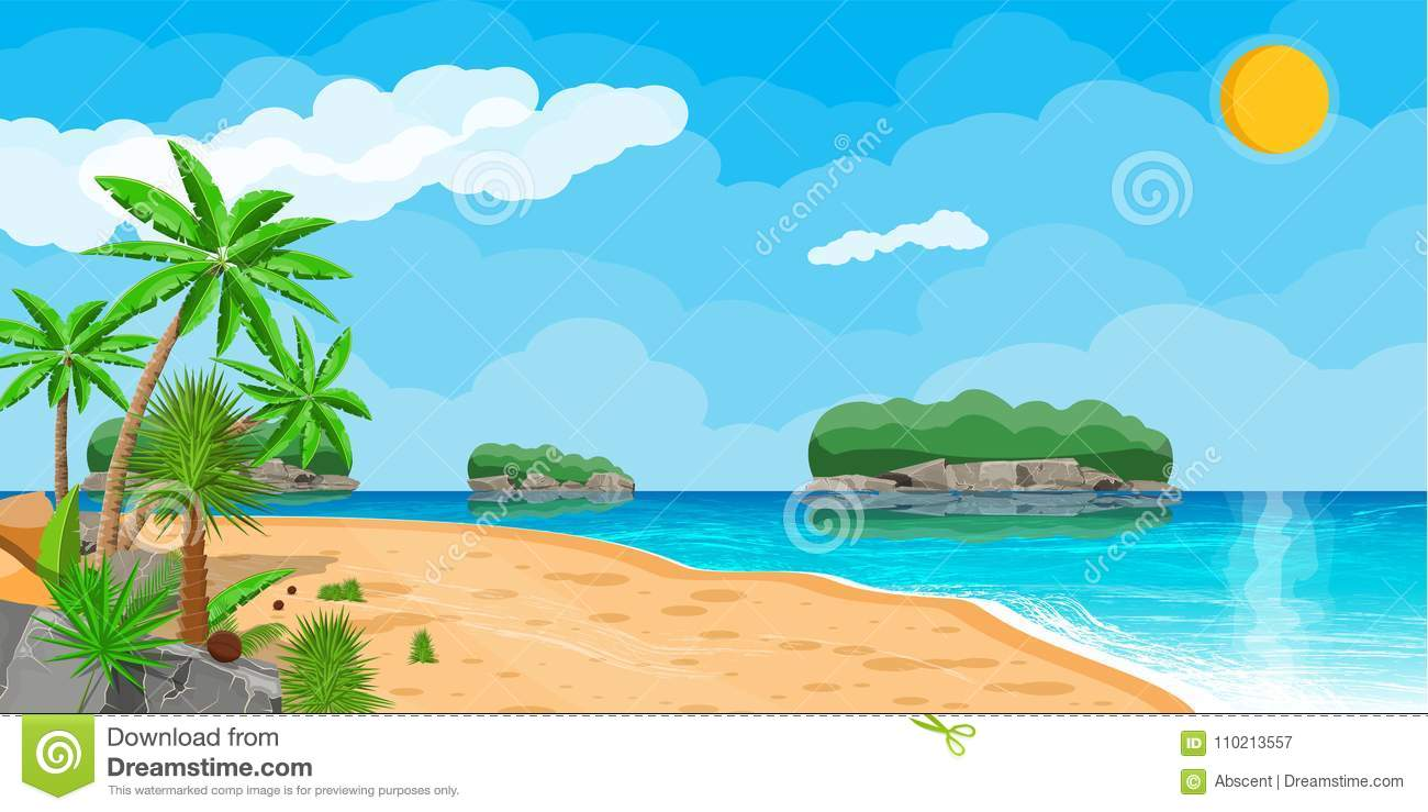 landscape of palm tree on beach stock vector illustration of
