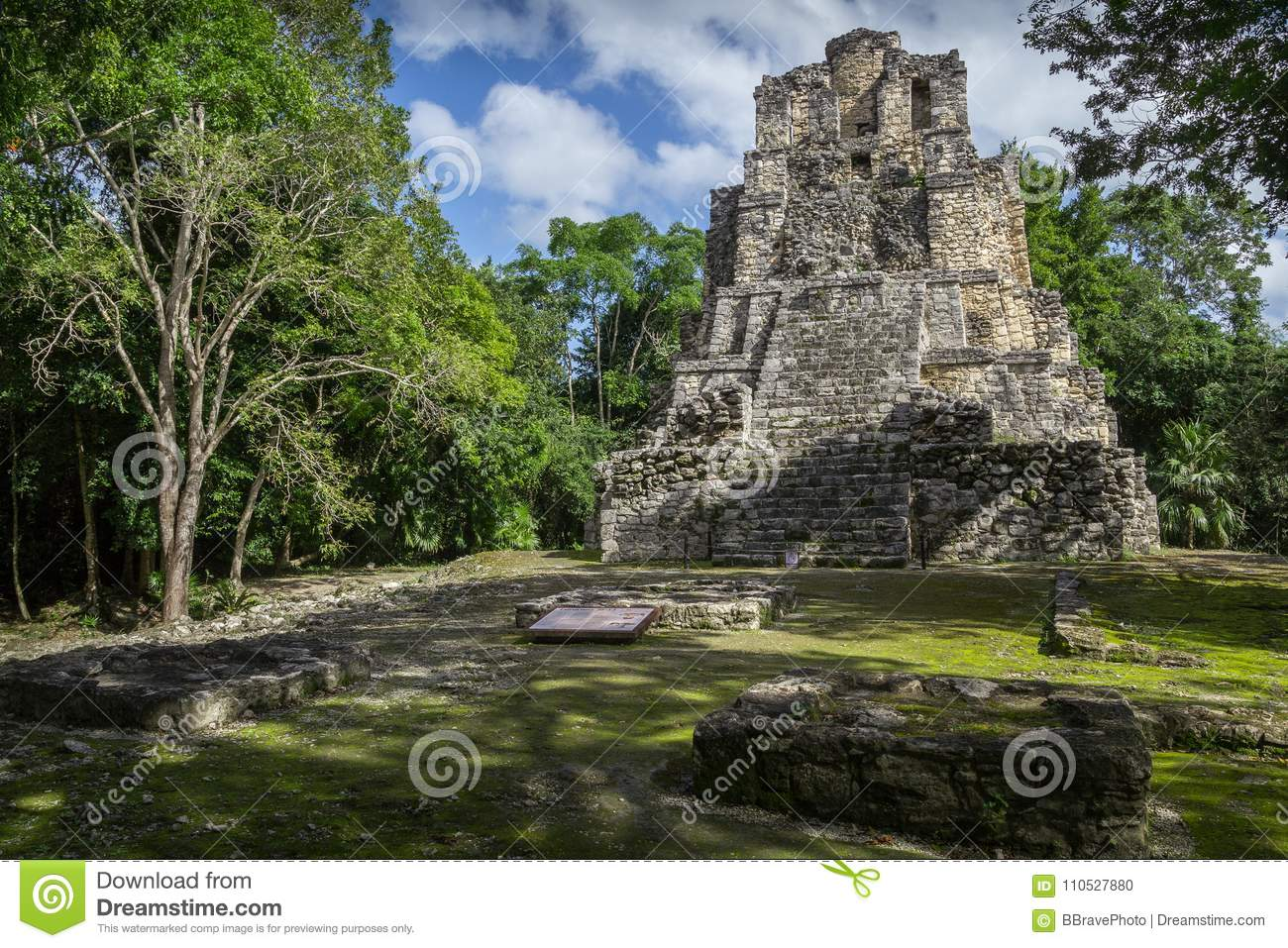 Landscape panorama of Ancient Maya temple complex in Muil & x28;Chuny