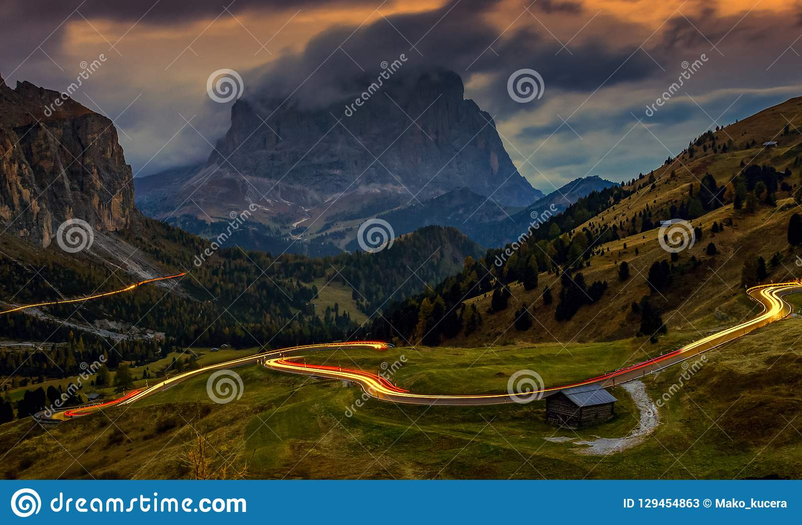 Landscape at Passo Gardena - blue hour after sunset, long exposure, Dolomites, Italy
