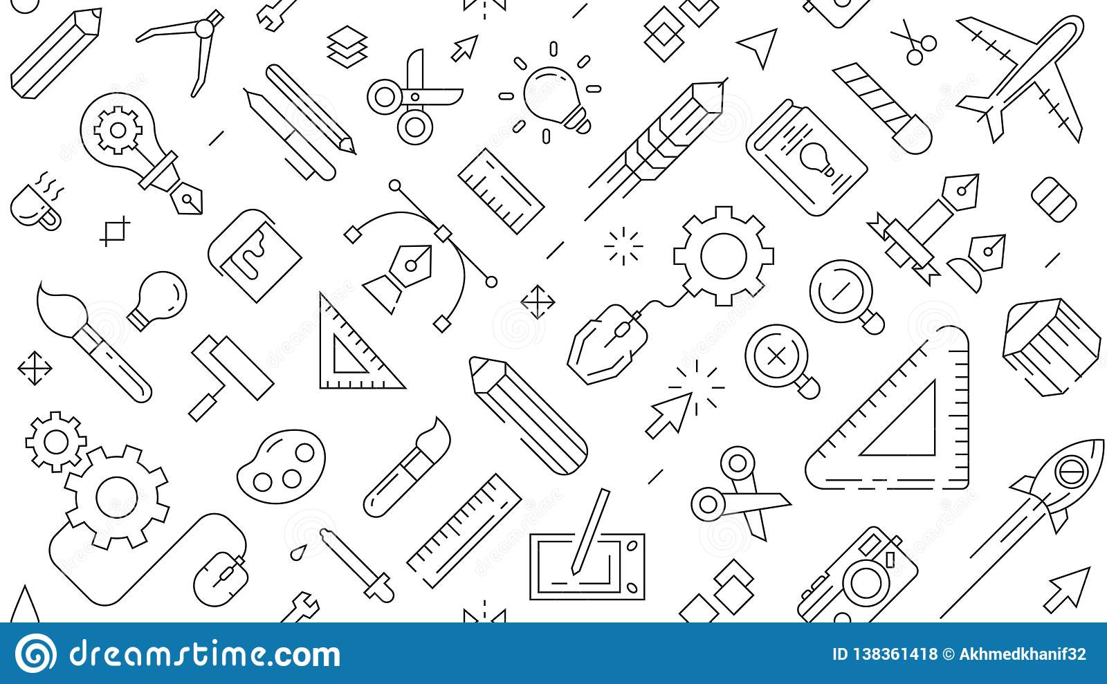 Landscape Pattern With Design Theme Vector Modern Doodle Style Background About Graphic Design Industry And Creative Business Stock Vector Illustration Of Doodle Mouse 138361418