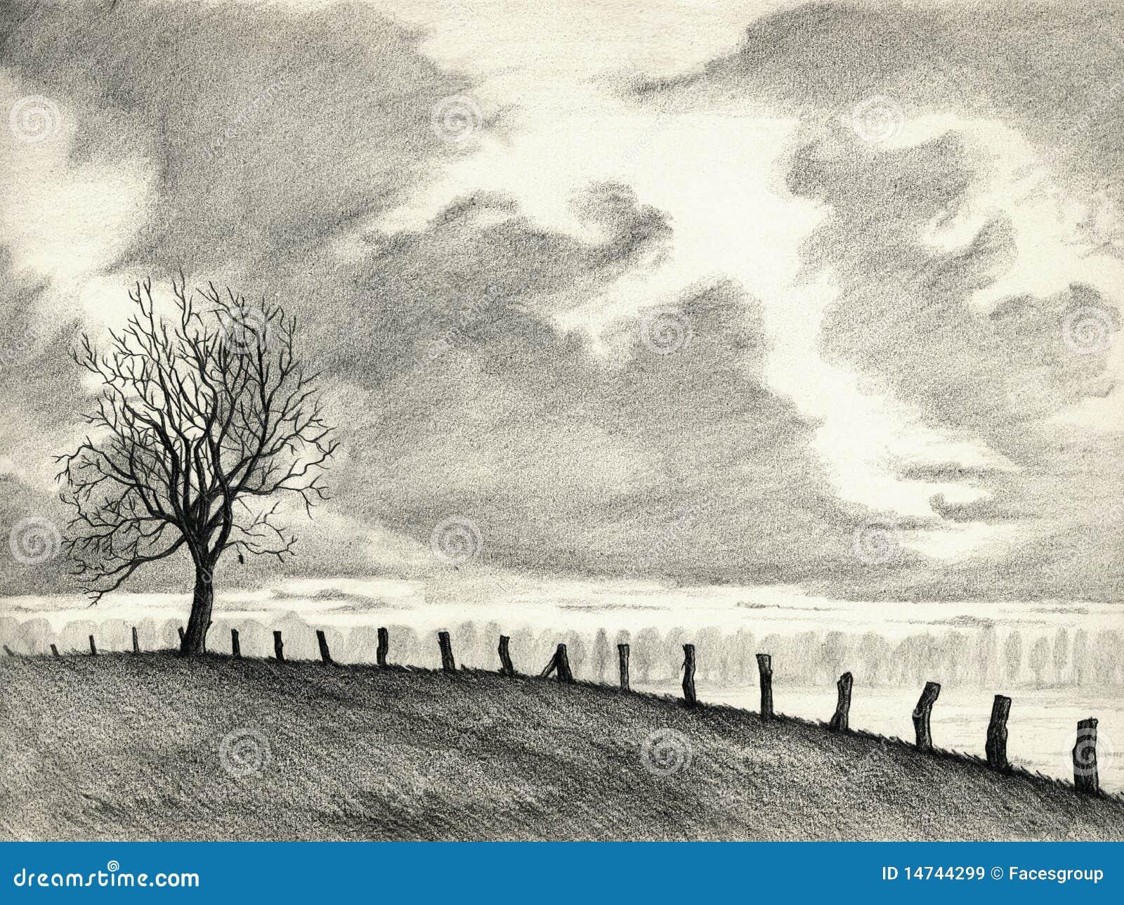 Landscape Pencil Drawing Stock Illustration Illustration Of