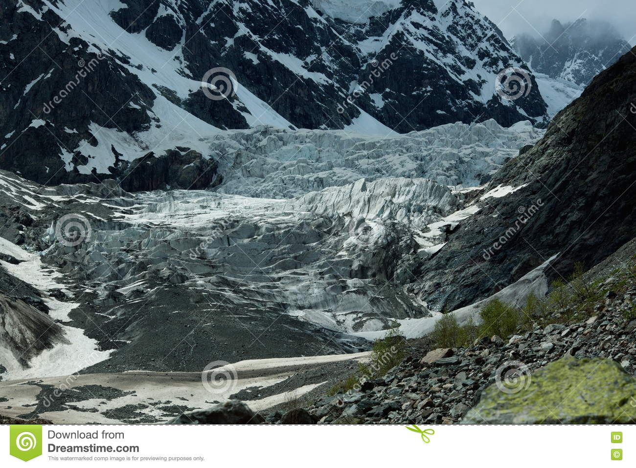 Landscape photo of the glacier in the mountains of Georgia