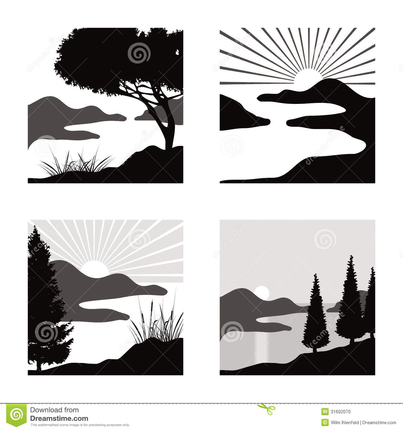 Landscape pictograms stock vector. Image of shore ...