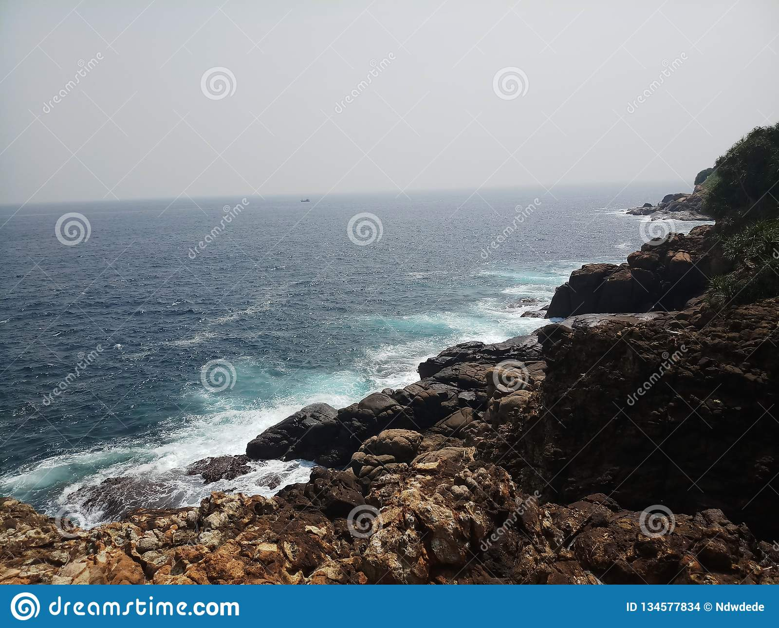 Blue sea with rocks