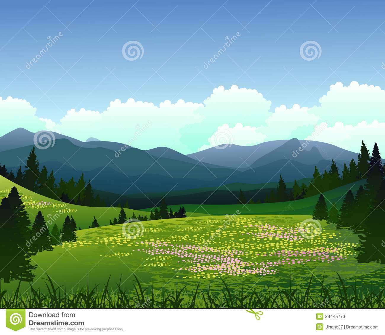Landscape Illustration Vector Free: Landscape With Pine Forest And Mountain Background Stock