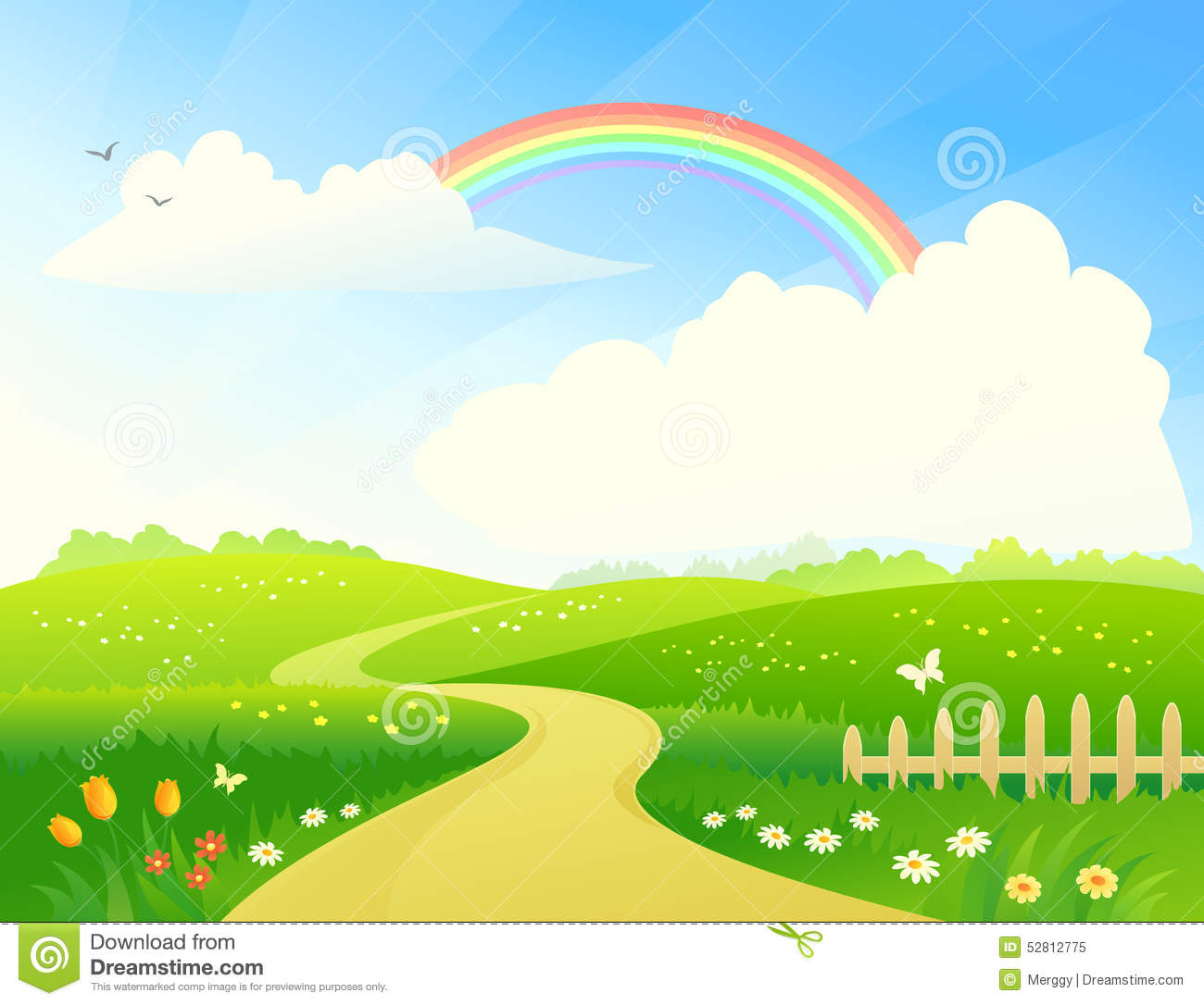 Landscape With Rainbow Stock Vector Image 52812775