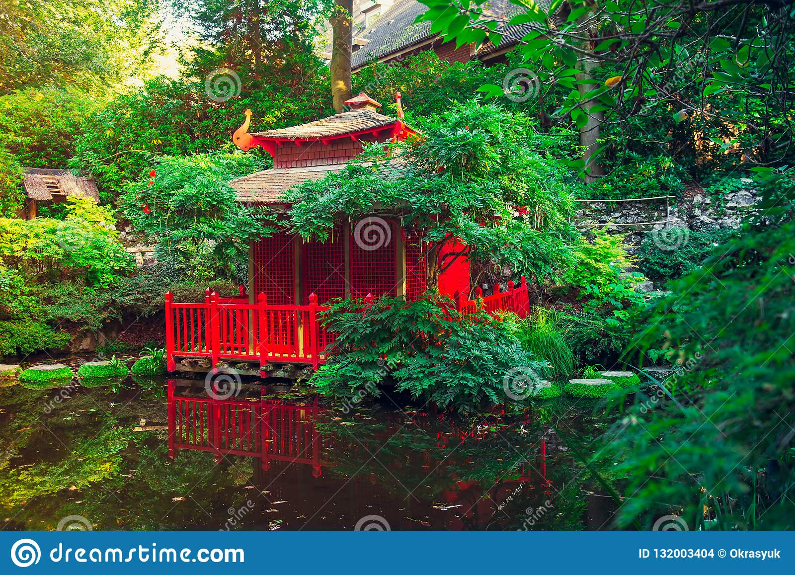 Landscape With Red Wooden House In The Beautiful Japanese Style