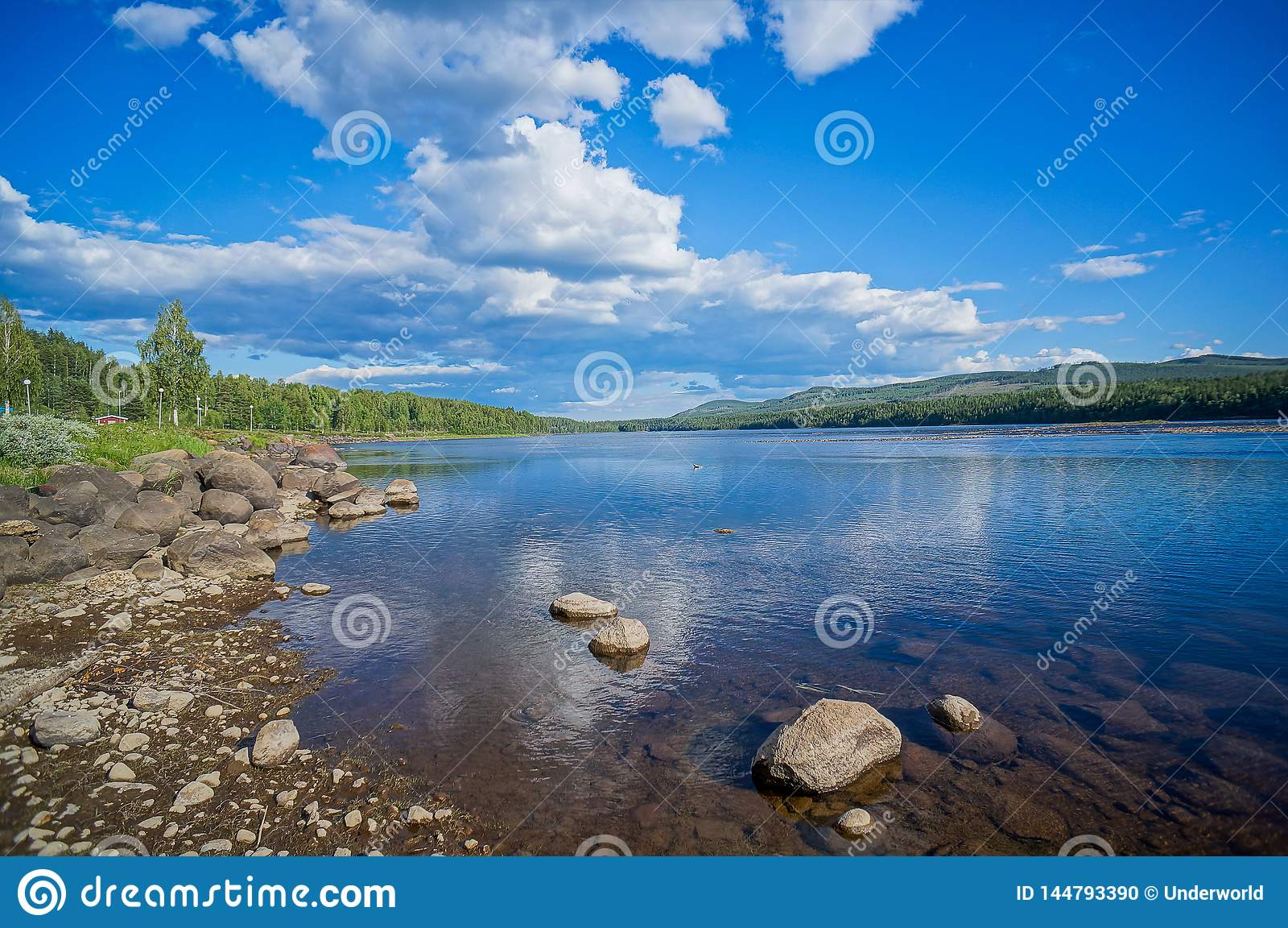 Landscape With River, Beautiful Photo Digital Picture, In