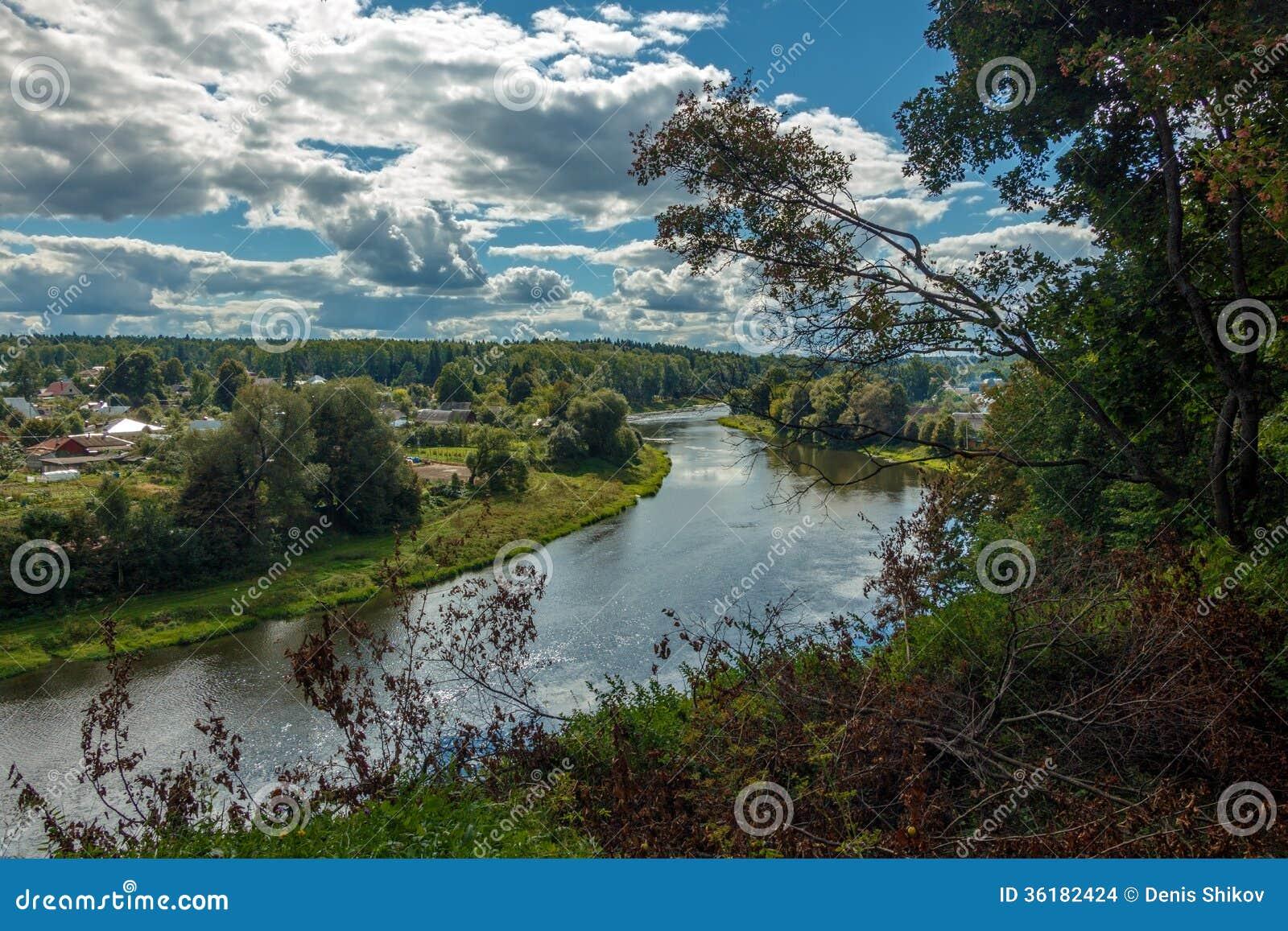 Landscape river village hill stock images image 36182424 for River hill