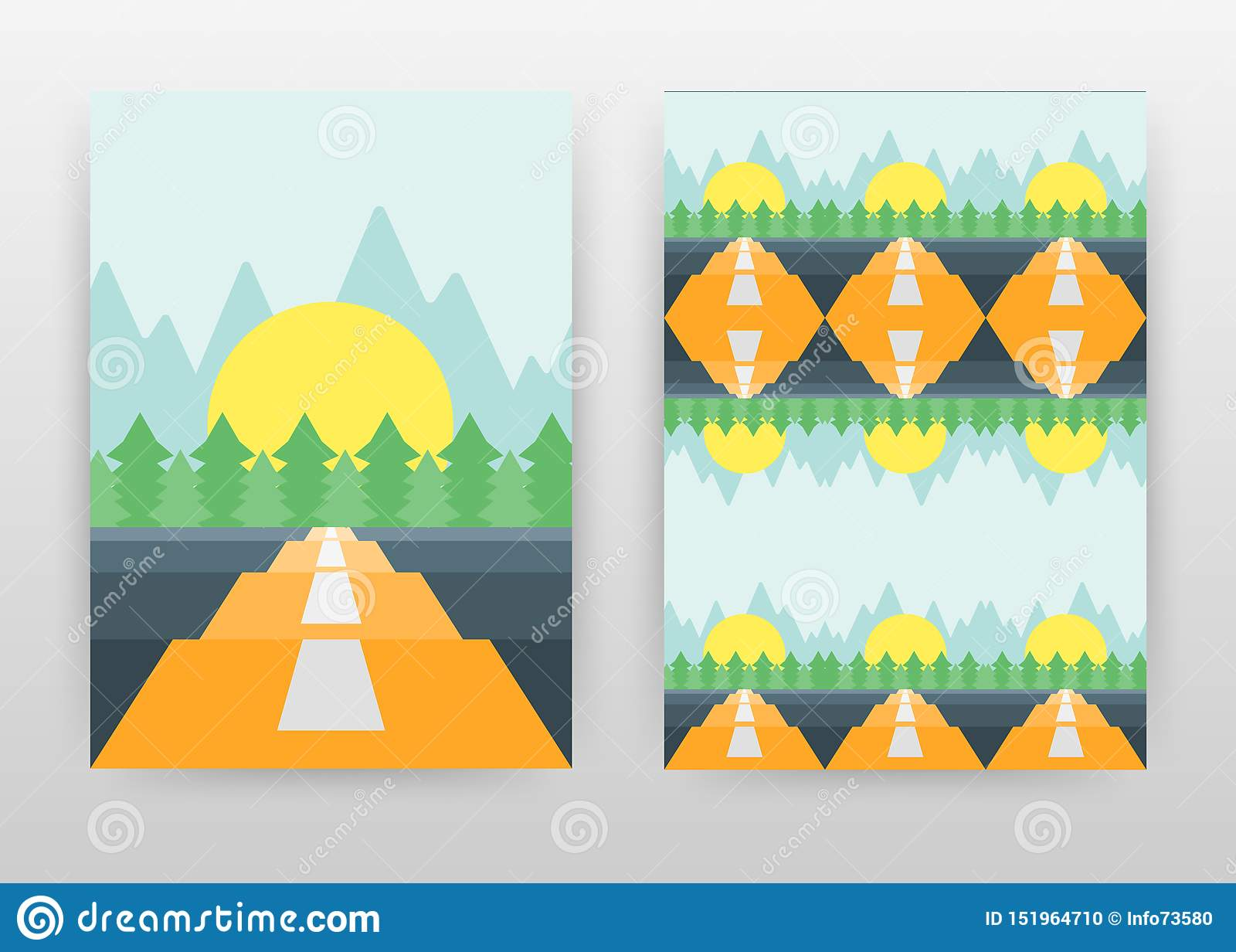Landscape of road, sun, pine trees and mountains. business design brochure, flyer, poster. Long way landscape background vector