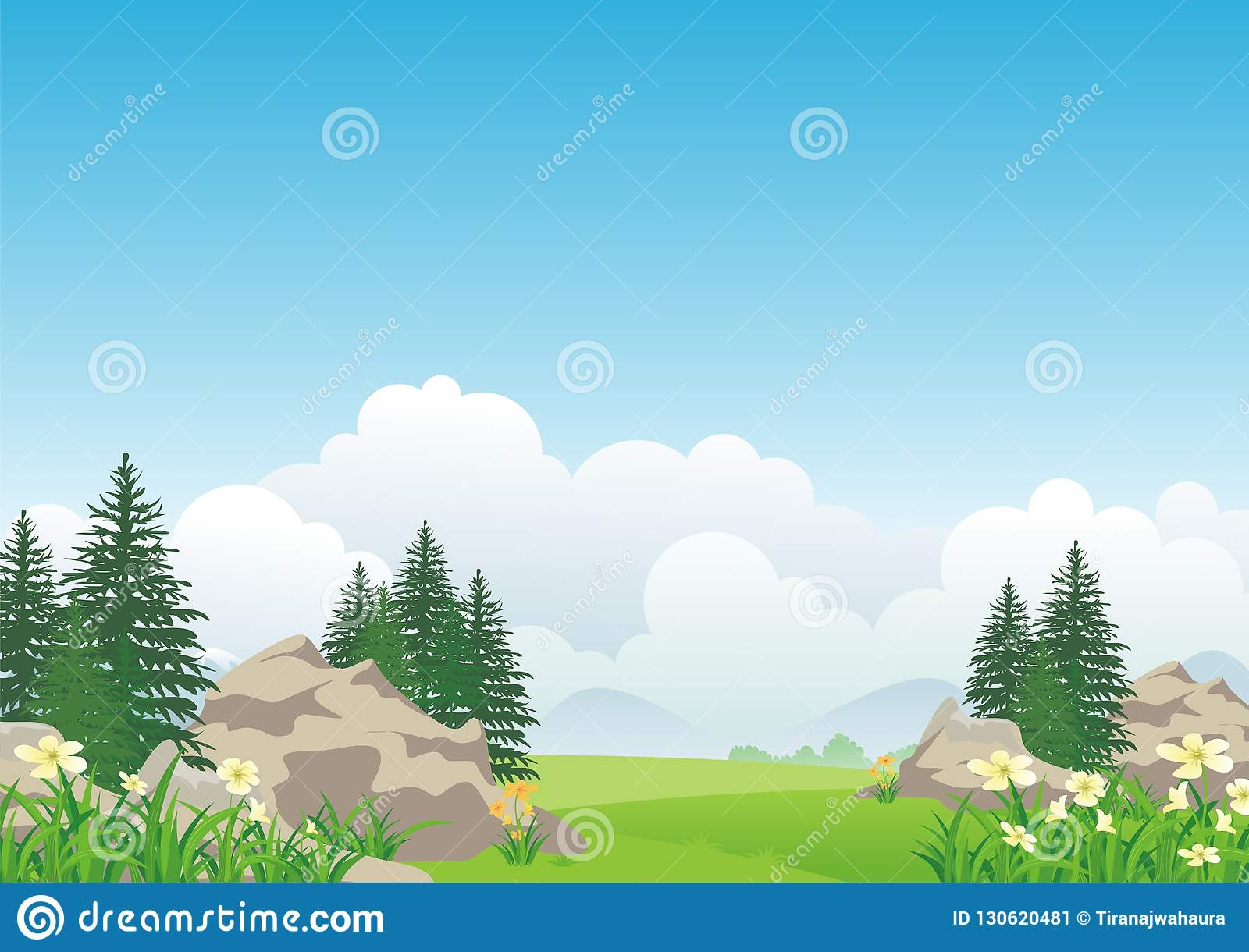 Landscape with rocky hill, Lovely and cute scenery cartoon design.