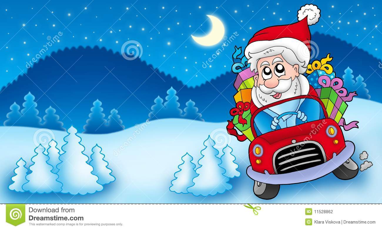 Landscape With Santa Claus Driving Car Stock Photography - Image ...
