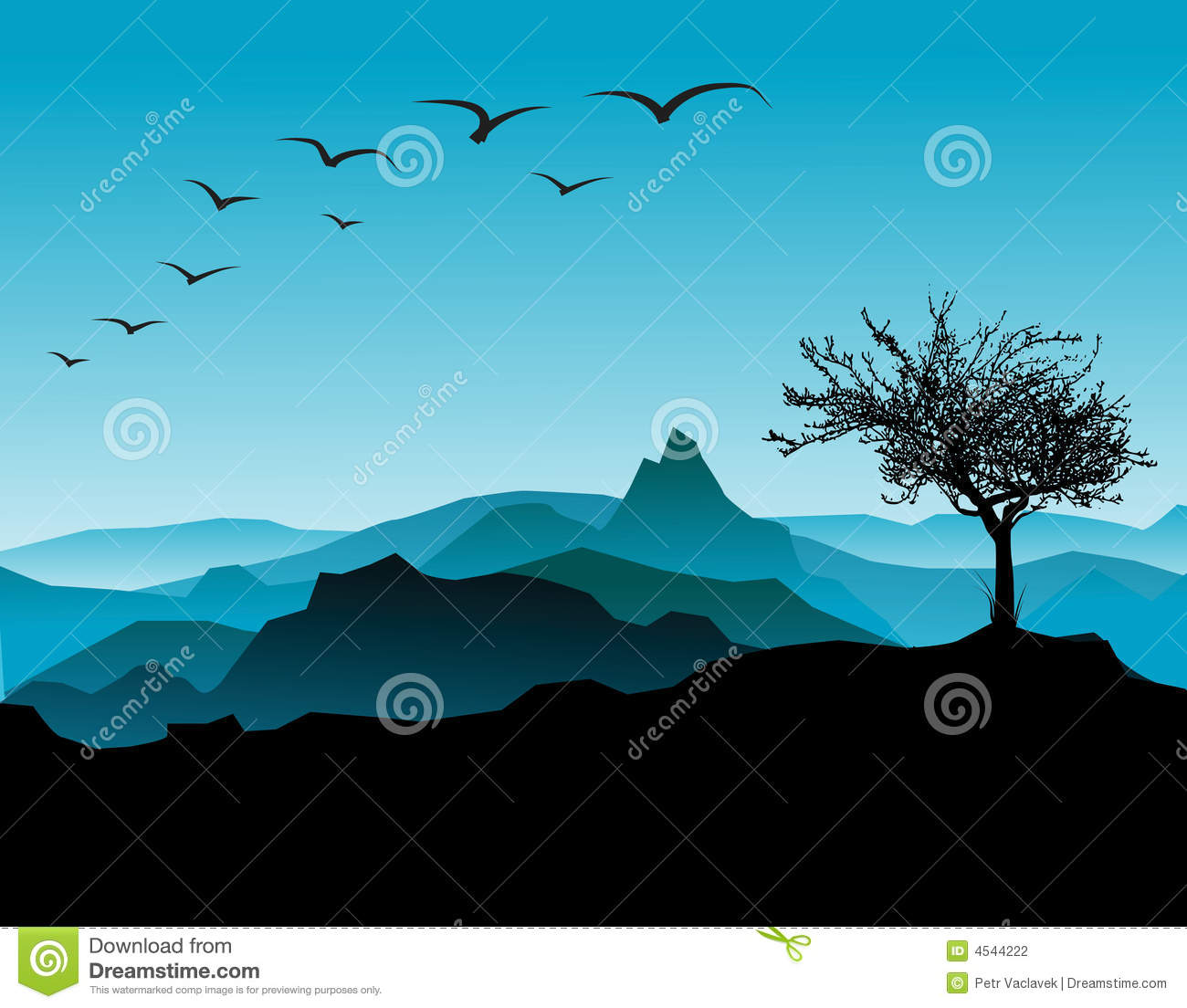 Silhouette of the tree, with mountains in the background.