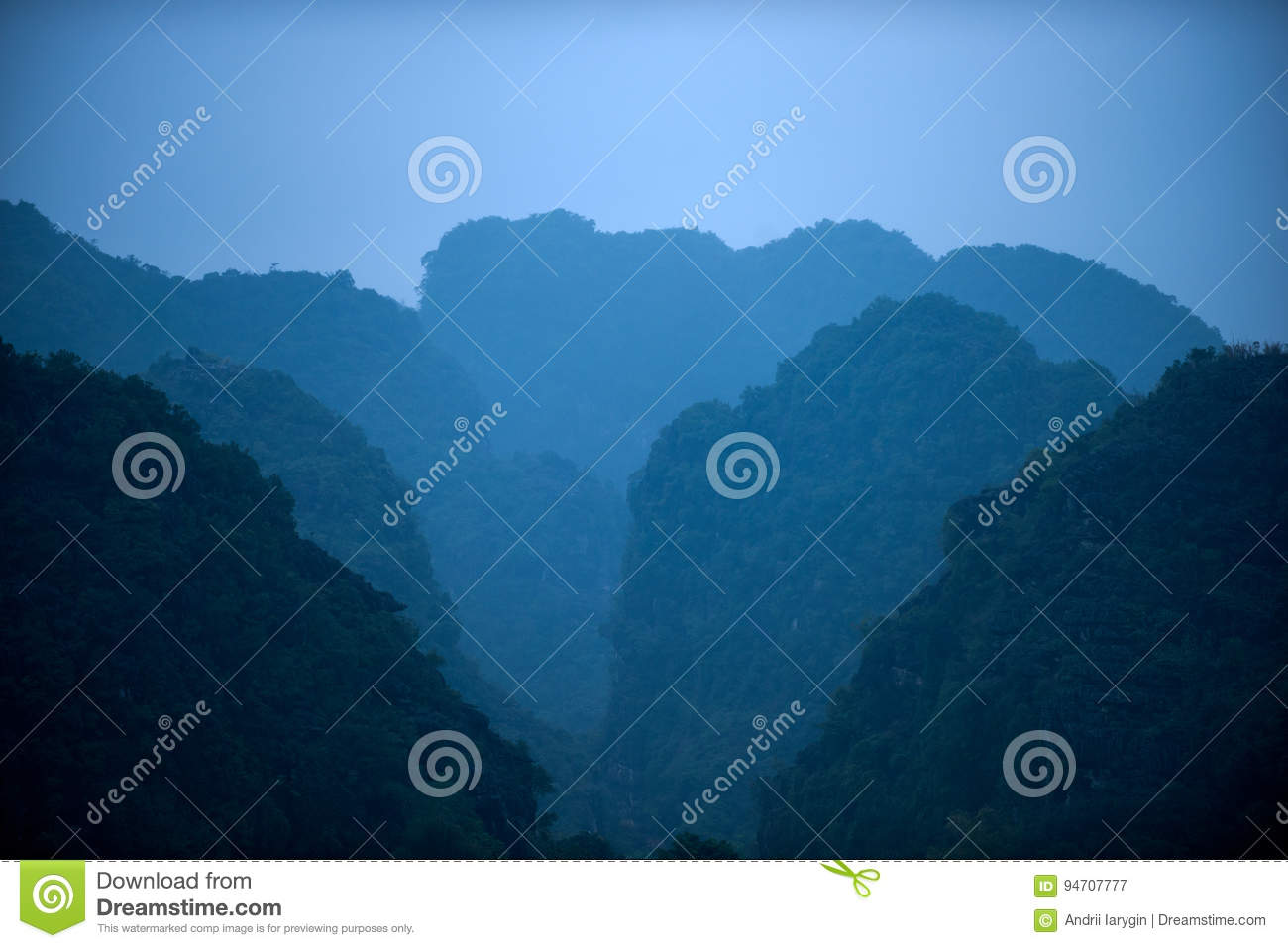 Landscape silhouette of mountains in asia