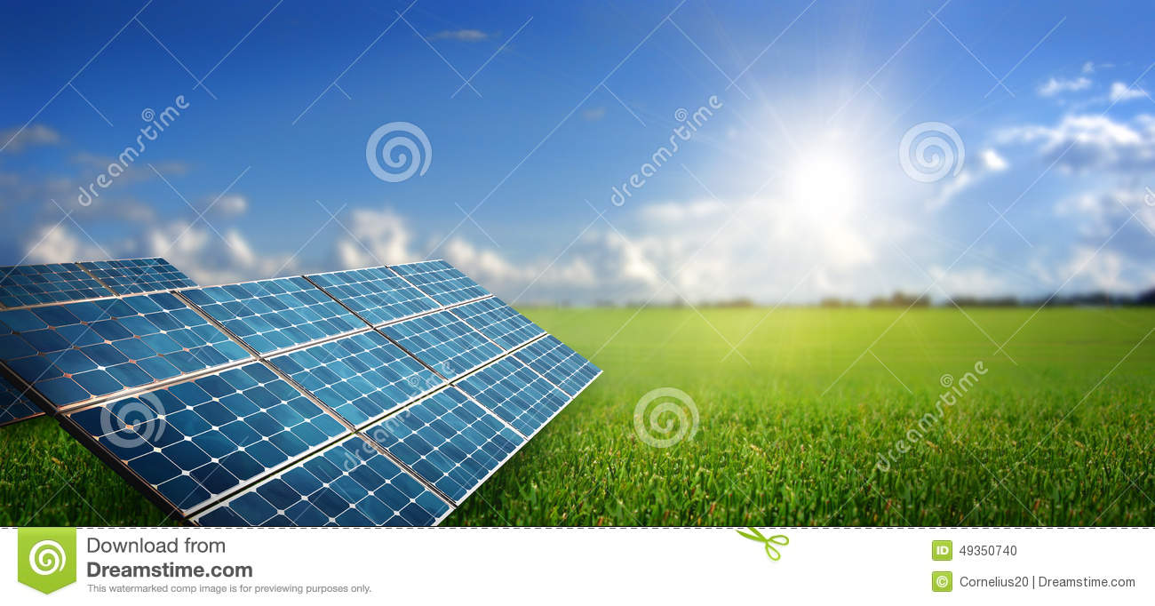 Landscape With Solar Panel Stock Photo Image Of Clouds