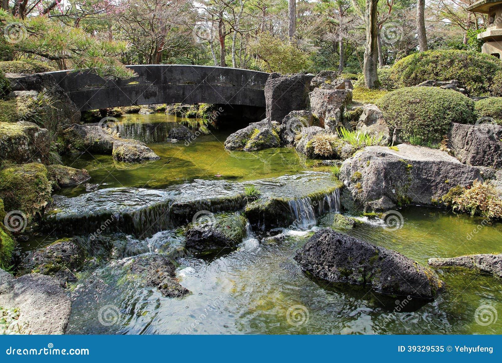 bridge flowing garden japanese landscape over quiet stone