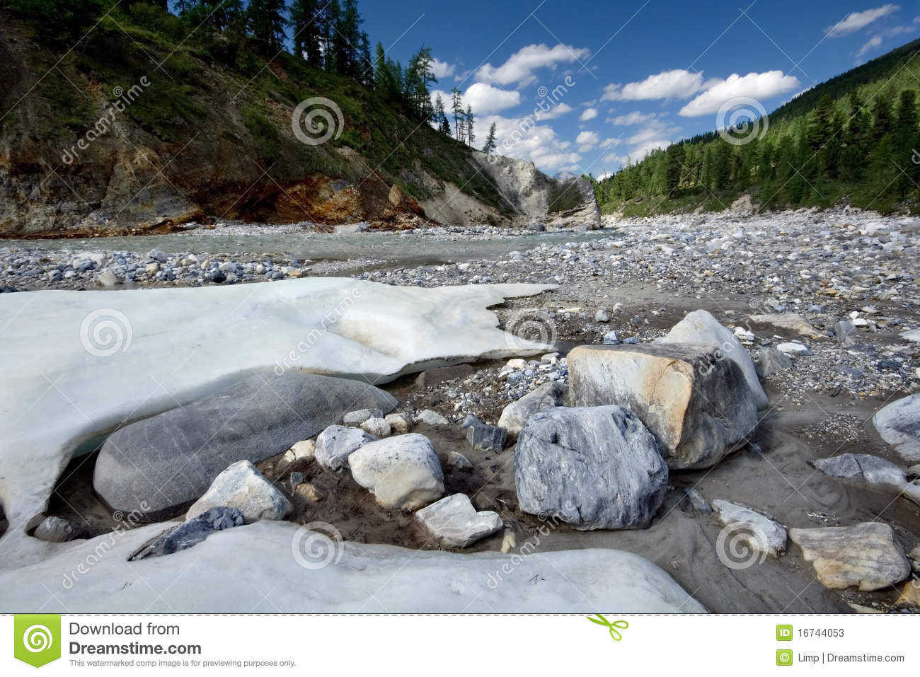 Landscape with stones and ice.Siberia,Russia,taiga