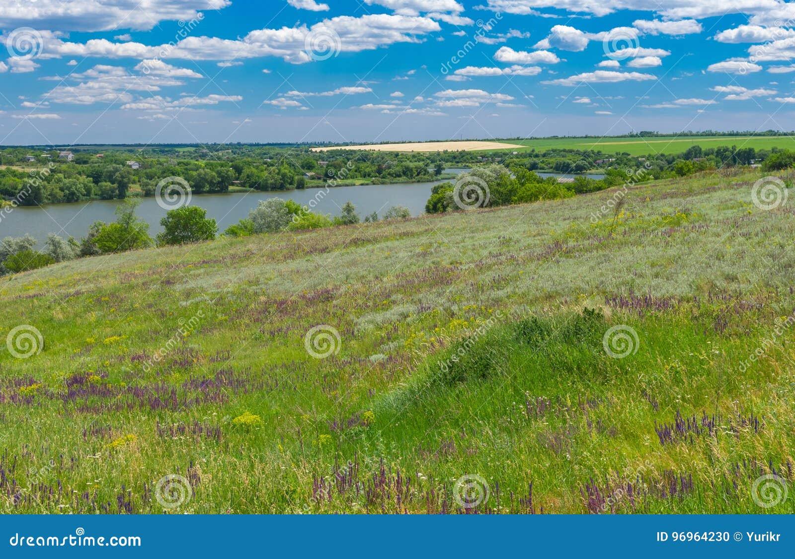 Landscape with Suha Sura river in Vasylivka village near Dnepr city, central Ukraine