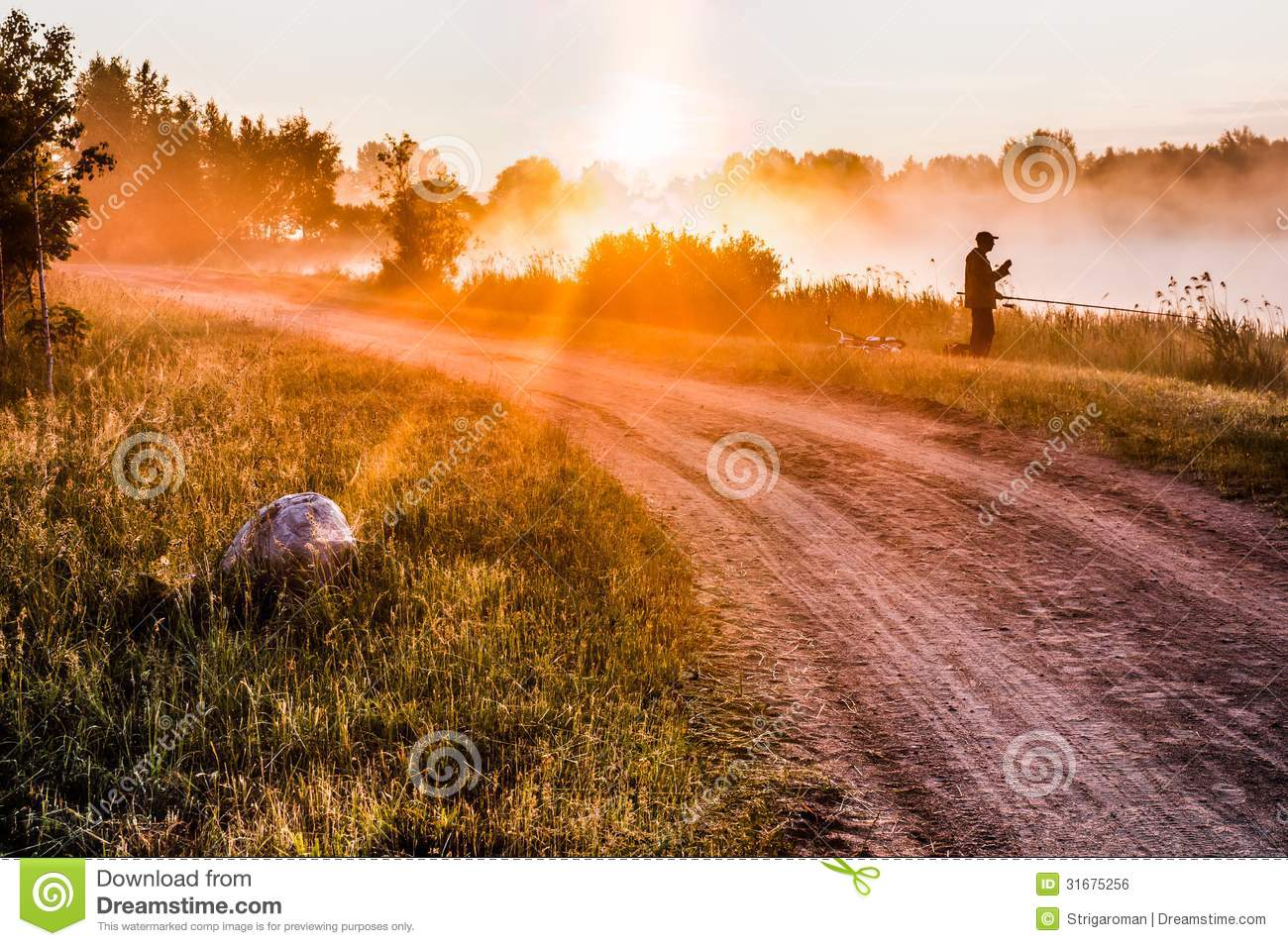 Landscape, sunny dawn with road and fisher