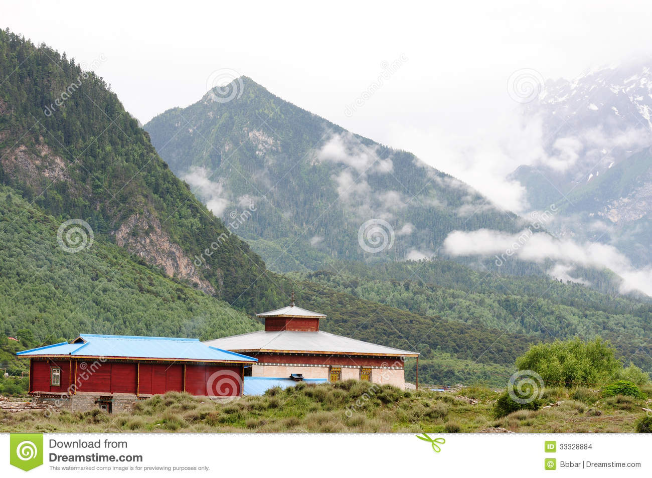 Landscape in tibet stock images image 33328884 - Summer houses mountains ...