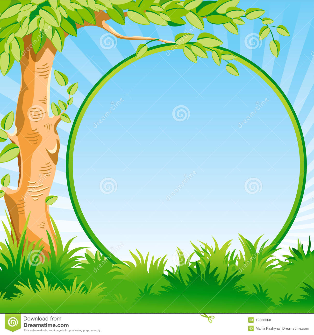 landscape with a tree and frame stock vector