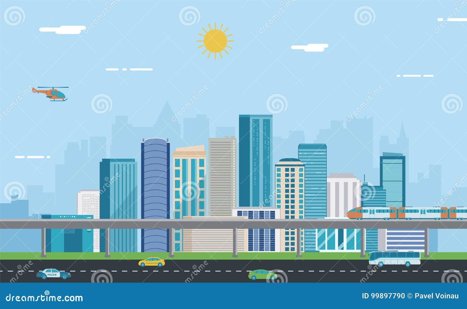 Landscape urban πόλη σύγχρονη Αρχιτεκτονική οικοδόμησης, πόλη εικονικής παράστασης πόλης διάνυσμα