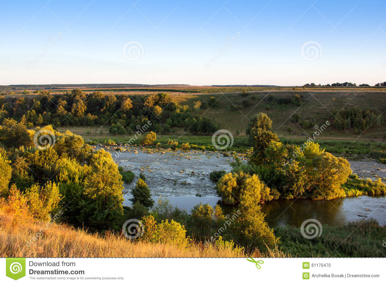 Landscape Of The Valley The River Trees The Field And