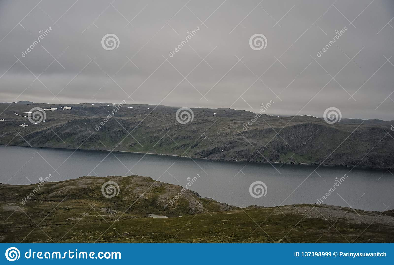 Landscape view of Magerøya island in Finnmark county on the way to North Cape Nordkapp at midnight time in Norway