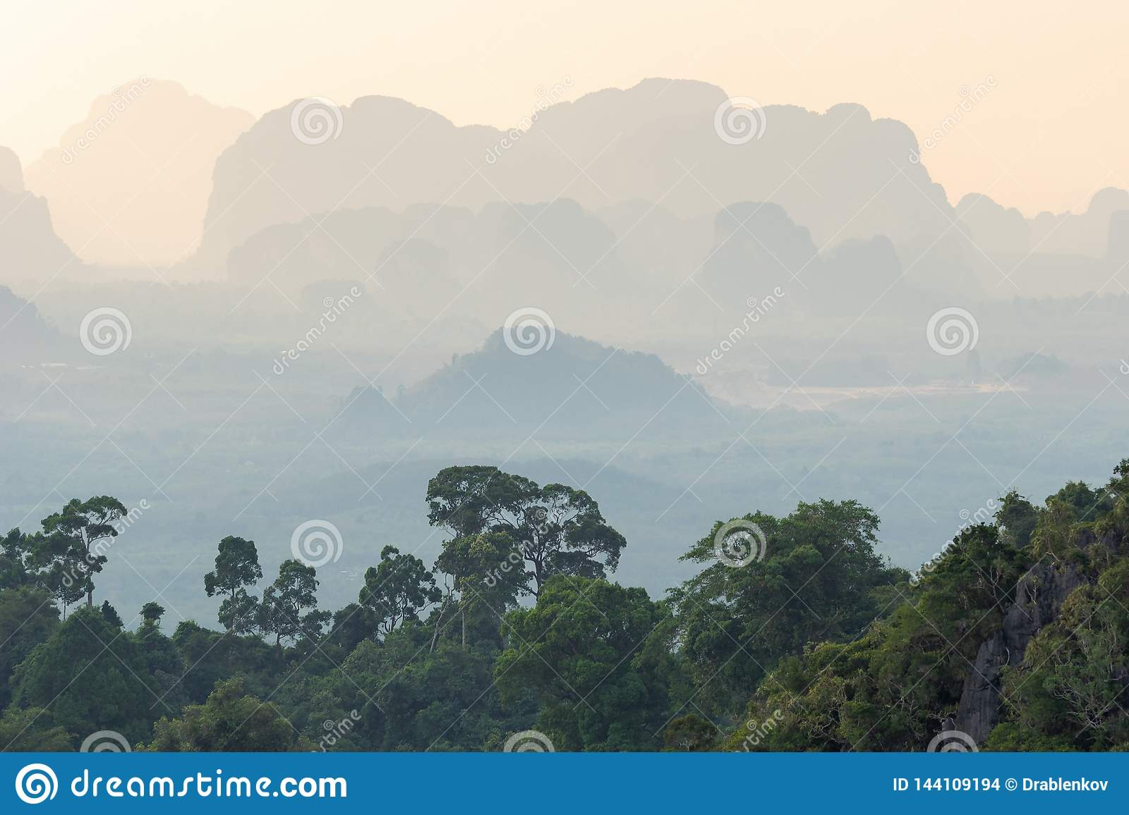 Landscape of tropical hazy mountains perspective and the green jungle trees