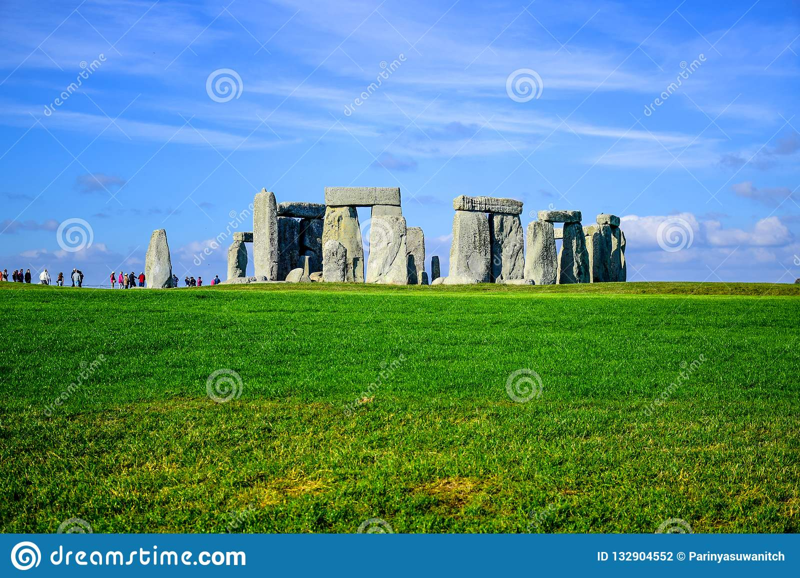 Landscape view of Stonehenge in Salisbury, Wiltshire, England, UK