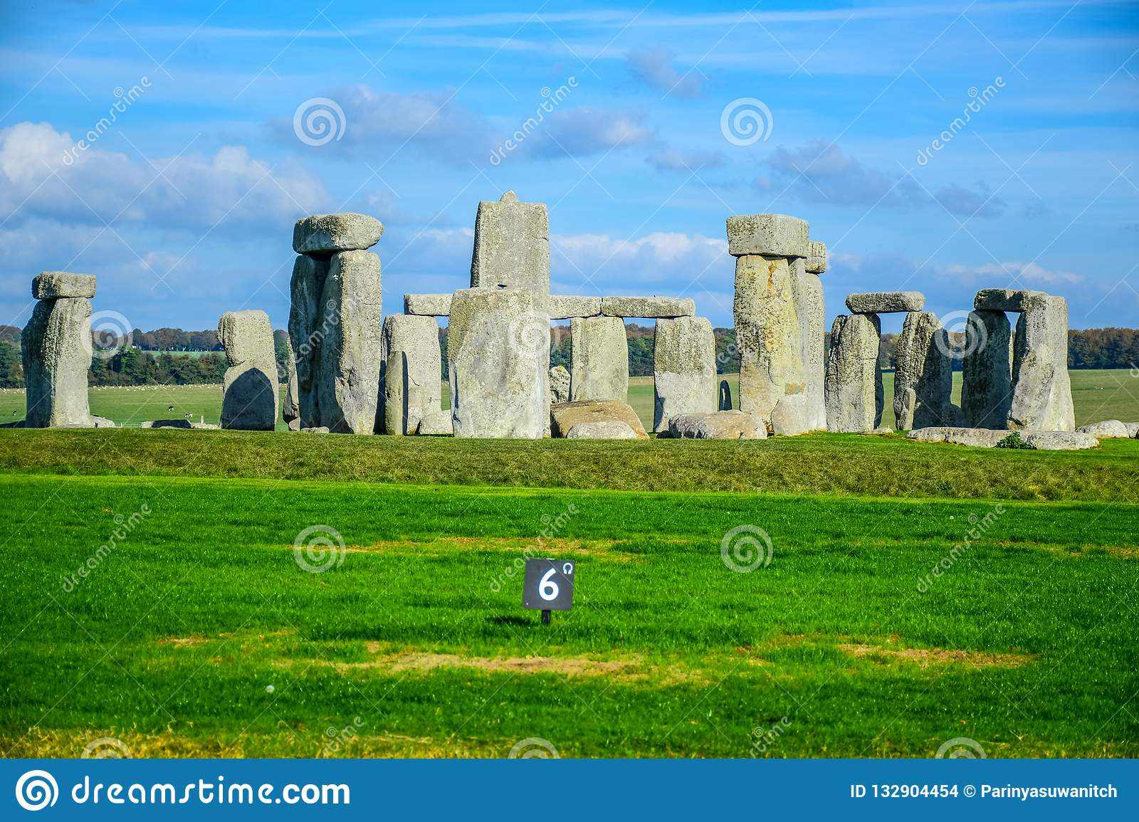 Landscape view of Stonehenge in Salisbury, Wiltshire, England, UK