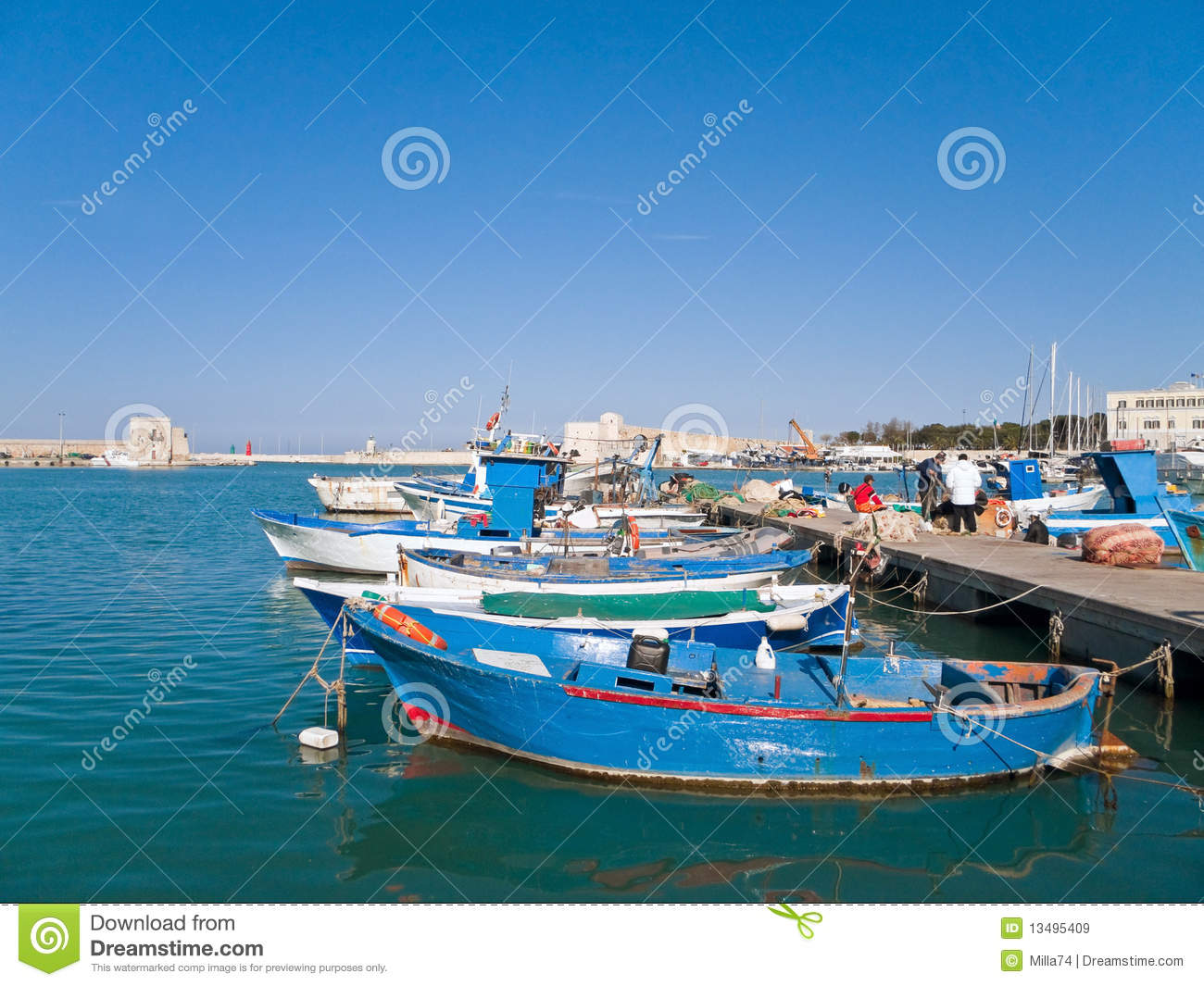 Landscape view of Trani seaport. Apulia.