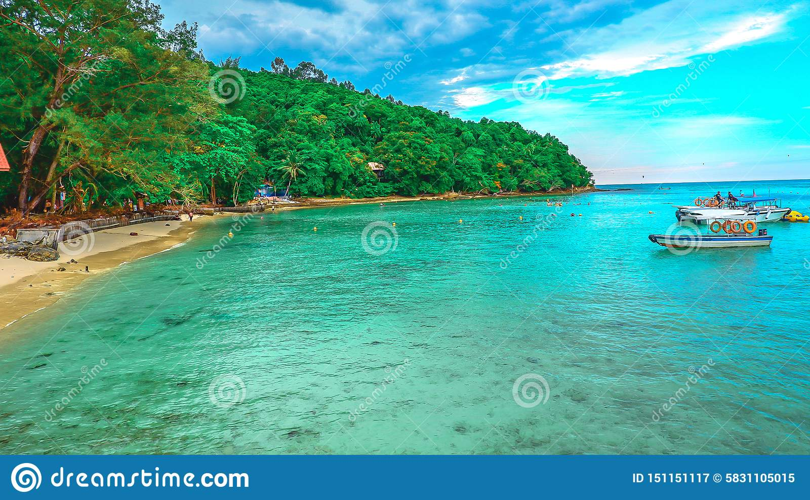 Landscape view of troical beach in the island