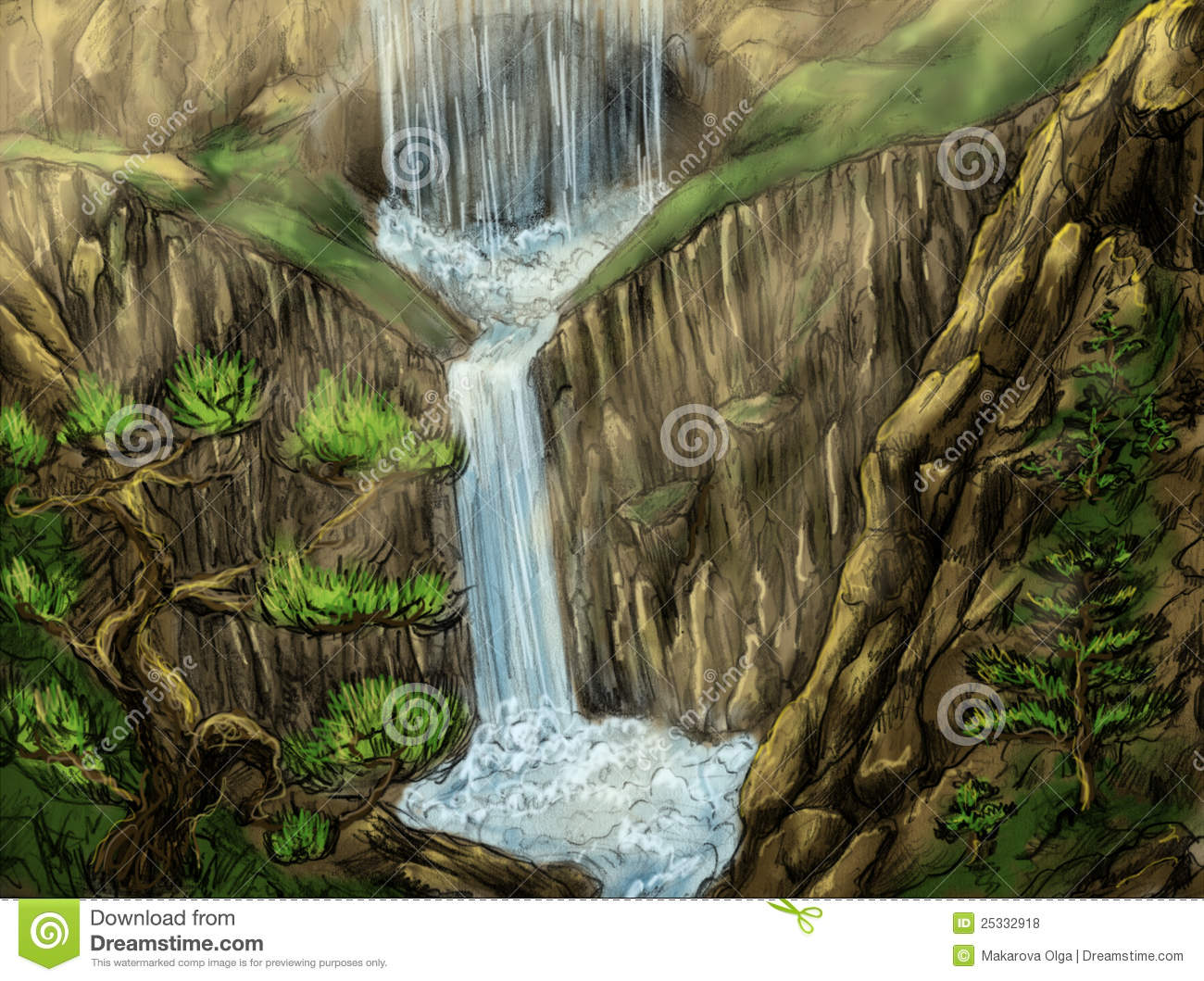 landscape with waterfall and cave stock illustration illustration