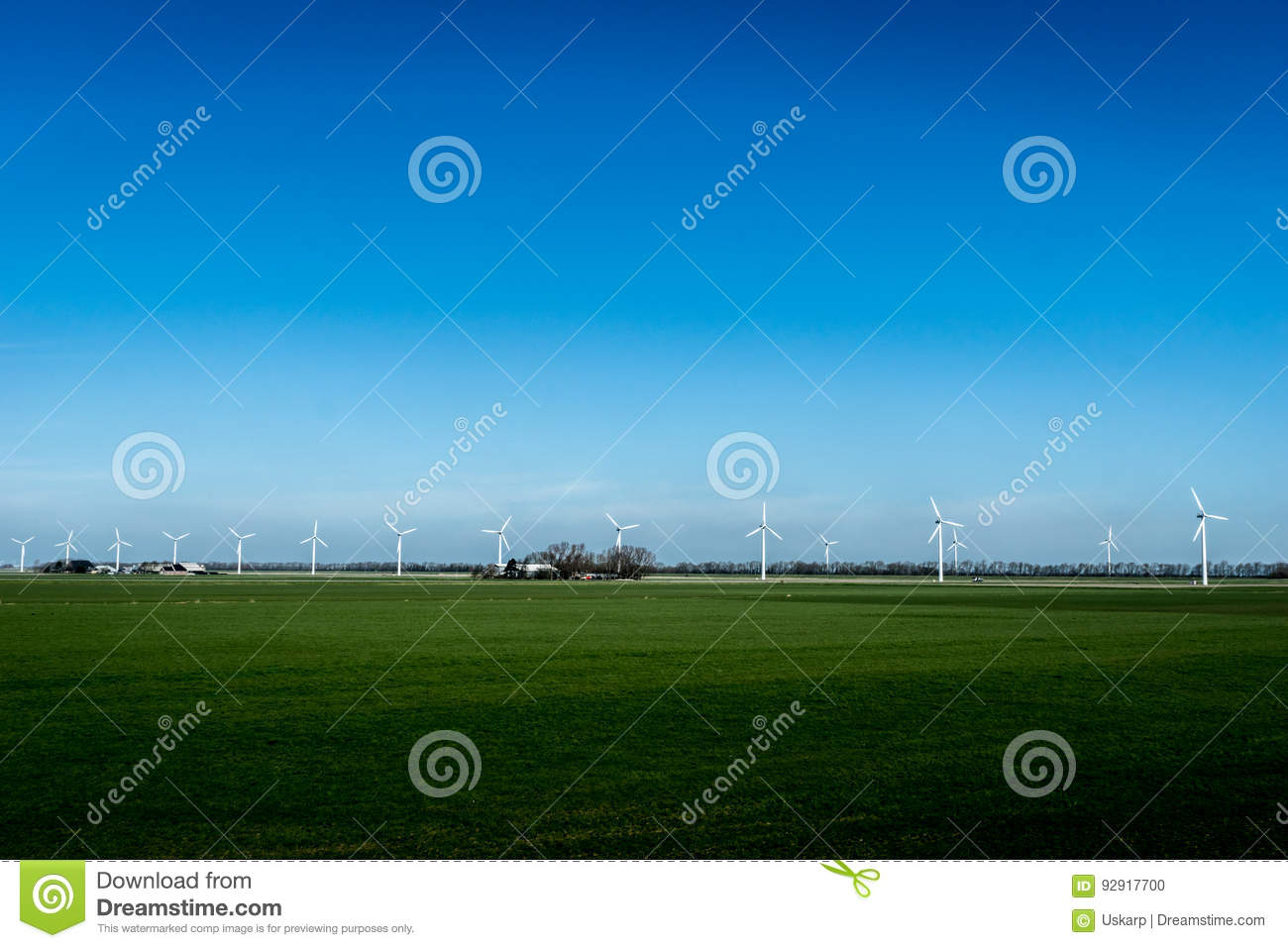 Landscape with wind energy turbines