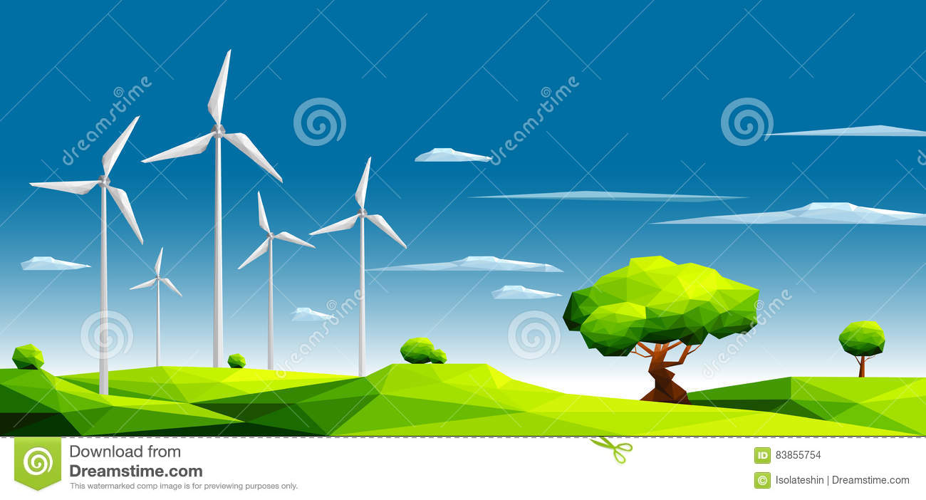 Landscape with wind farm in green fields among trees.Ecology Concept.Polygonal style