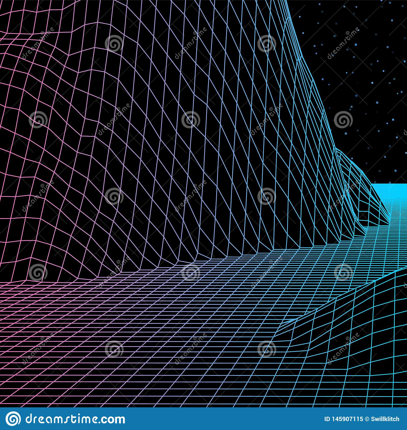 Landscape with wireframe grid of 80s styled retro computer game or science background 3d structure with mountains