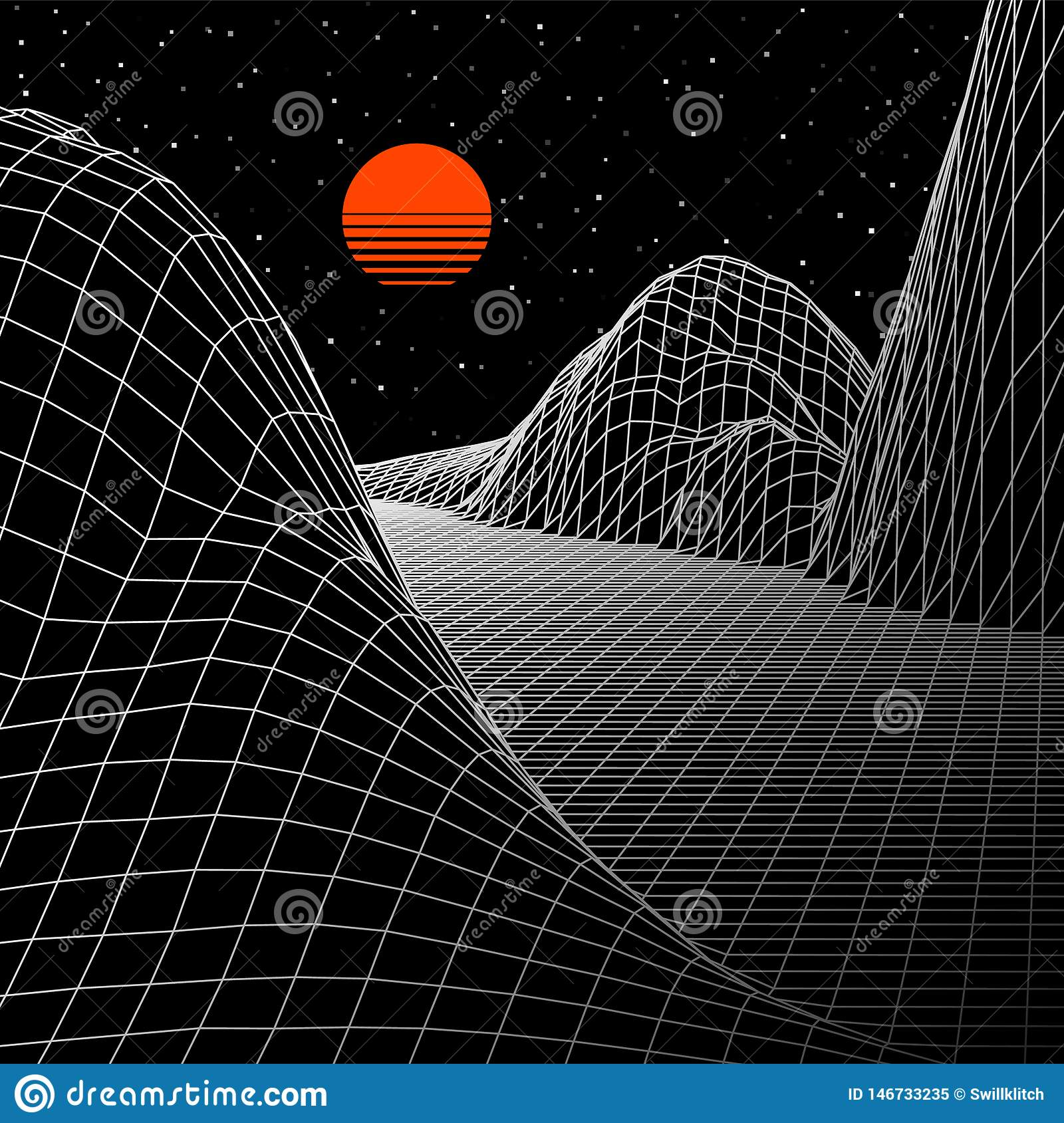 Landscape with wireframe grid of 80s styled retro computer game or science background 3d structure with sun