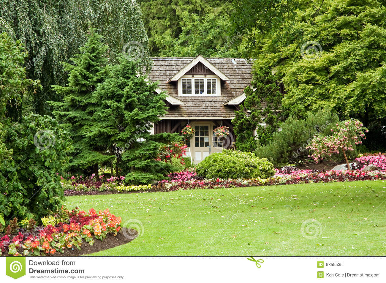Landscaped Cottage In Woods A View Of Small Secluded Log The