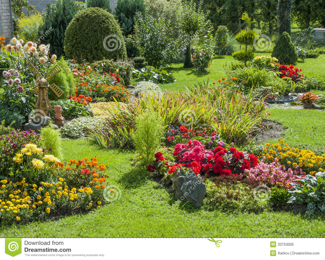 landscaped flower garden stock image image of holiday 33753005. Black Bedroom Furniture Sets. Home Design Ideas