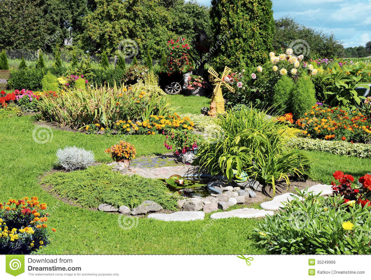 Landscaped flower garden stock photo image of color for Flowers landscape gardening