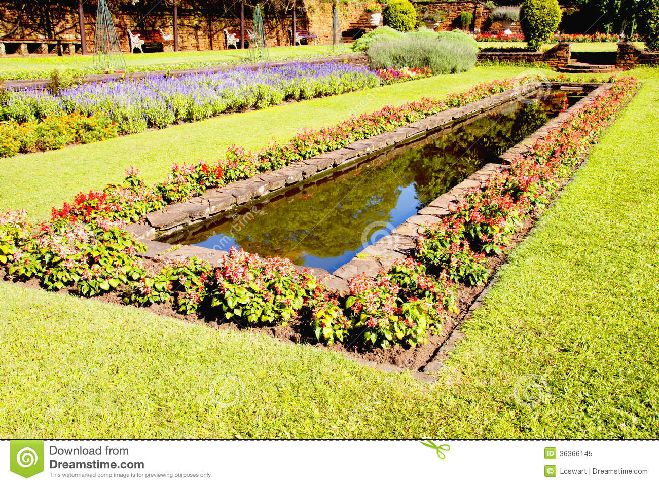 Landscaped Formal Garden With Rectangular Fish Pond Royalty Free Stock Photo Image 36366145