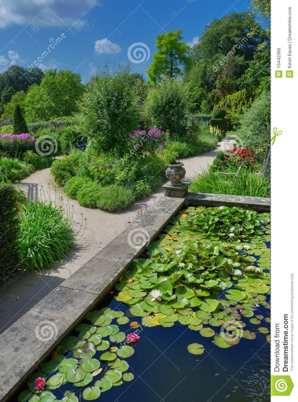Landscaped garden and pond royalty free stock image for Garden pond unlimited