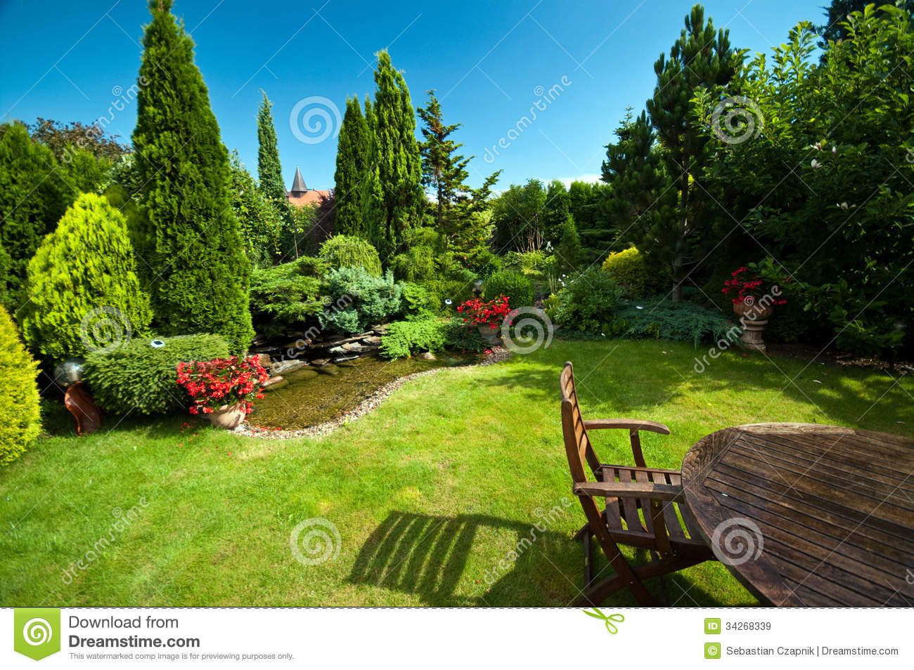 Landscaped Garden In Summer Stock Image Image Of Table