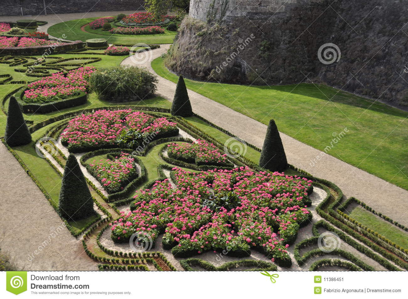 Aerial Angers Castle Flowerbeds Garden Landscaped ... Part 45