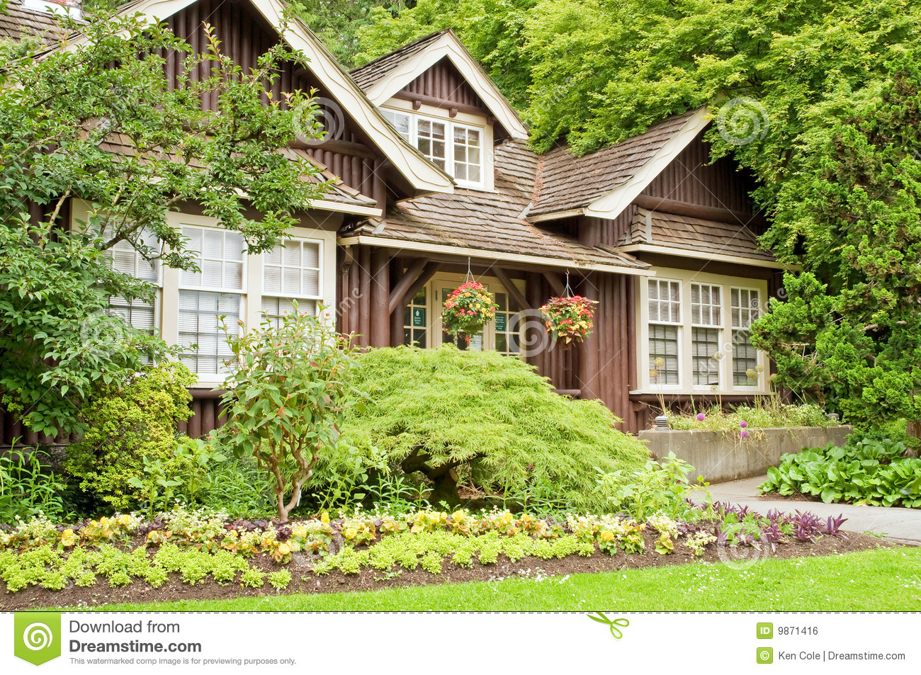 Landscaped log cottage in woods royalty free stock image image 9871416 - Cottage image ...