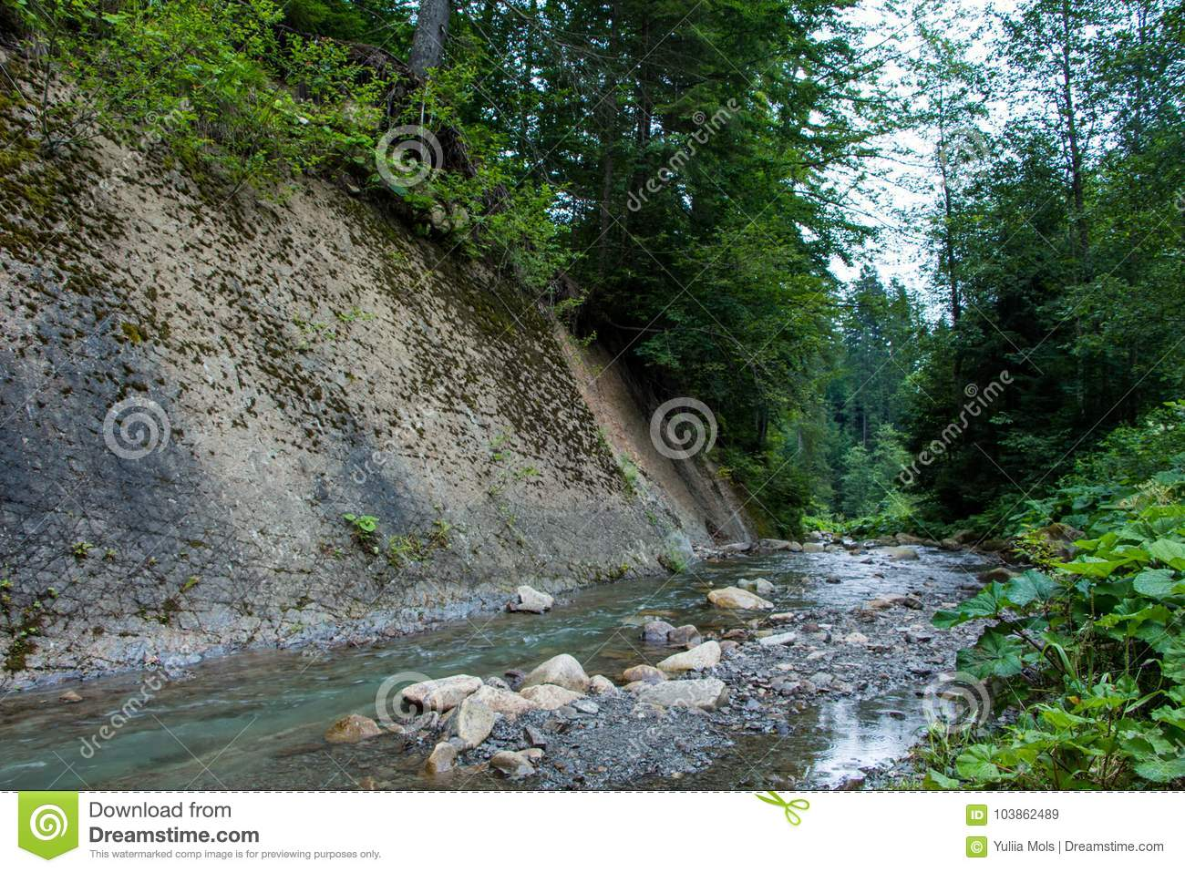Landscapes Of The Mountains And Mountain River And Natural