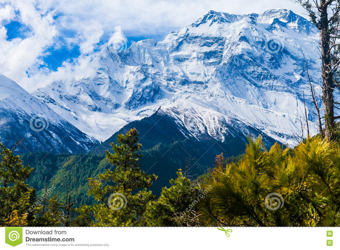 Landscapes Snow Mountains Nature Morning Viewpoint.Mountain Trekking  Landscape Background. Nobody Photo.Asia Horizontal Picture. Sunlights White  Clouds Blue ...