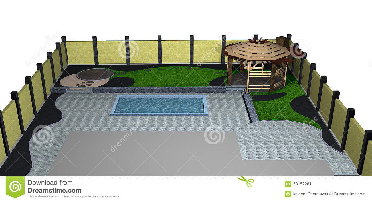 landscaping backyard pool and arbor isometric view  3d