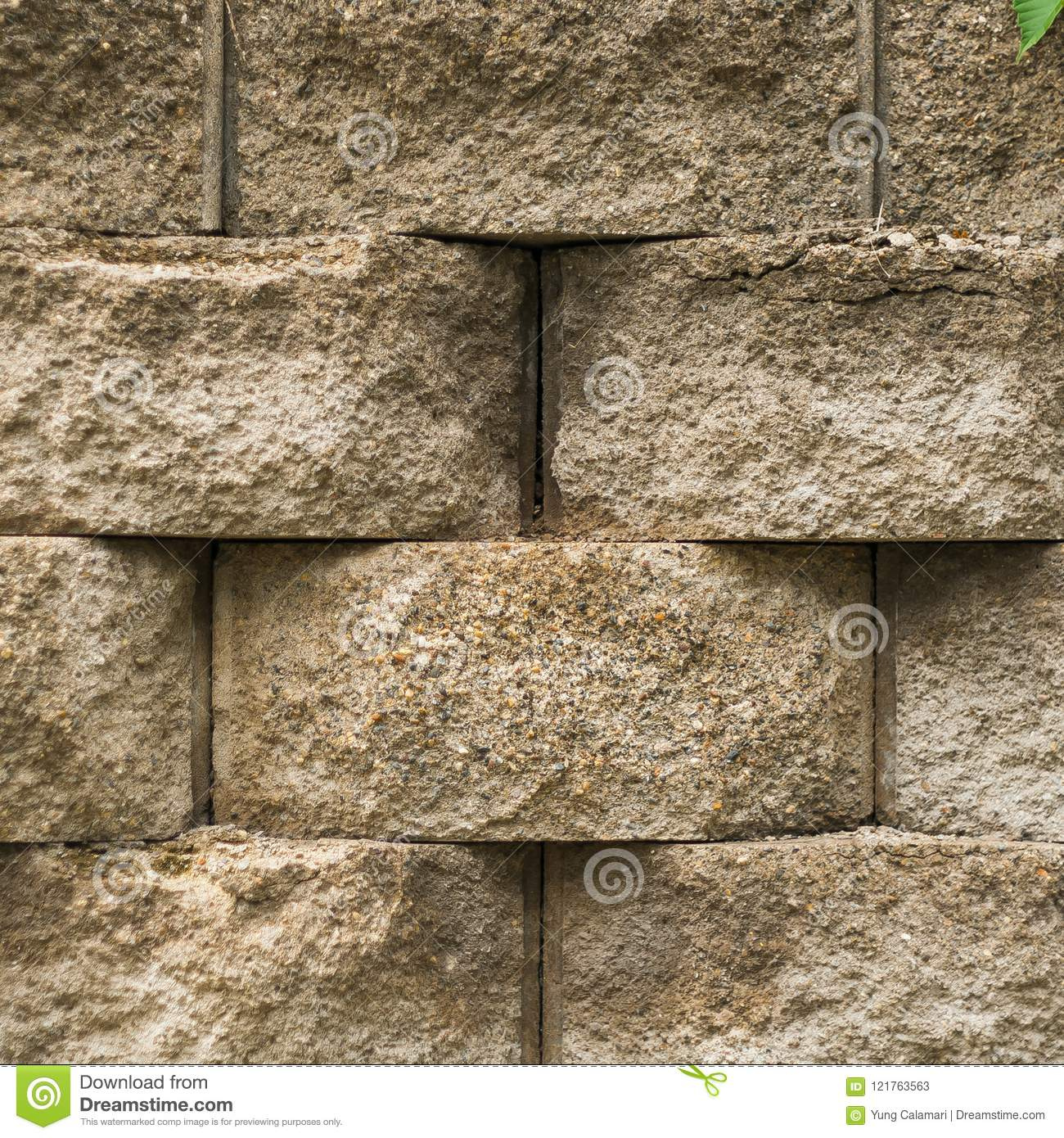 Straight view of landscaping brick texture